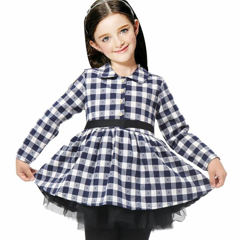 Berymond 2017 Koreaanse kinderen meisje herfst jurk lange mouwen pure katoen zwart Plaid Kleding Jurken