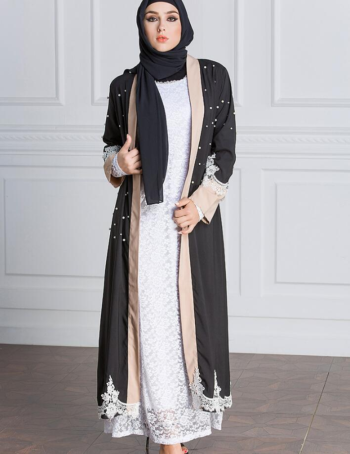 2018 women Muslim Pakistani Saudi women middle east dress sweater hot  beaded pearl lace robe plus size a648-in Islamic Clothing from Novelty    Special Use ... 371be8b2ceaa