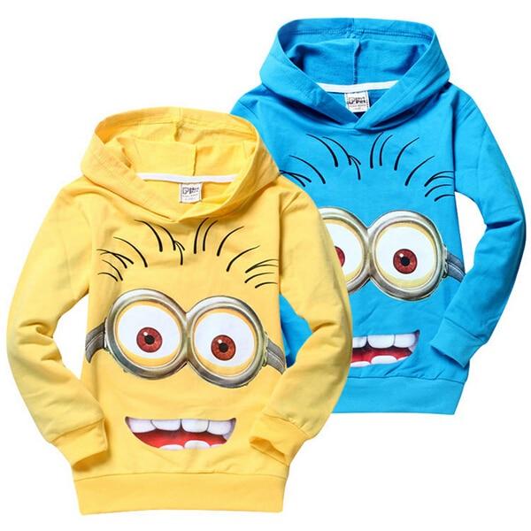1 pz/lotto 2016 cartoon minion ragazzi vestiti delle ragazze nova camicie, Primavera bambino con cappuccio Tops & T