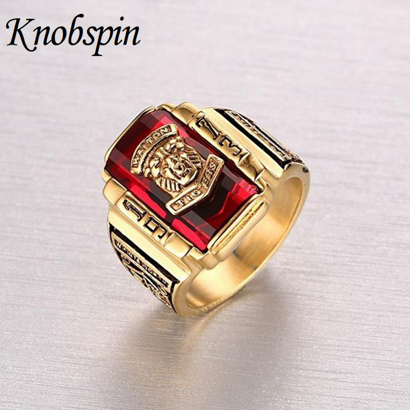 High quality Men's Rock Punk Ring Gold color Large Red CZ Stone Ring Jewelry 1973 Lion Head Party Rings For Men kids long parkas for girls fur hooded coat winter warm down jacket children outerwear infants thick overcoat 4 6 9 10 12