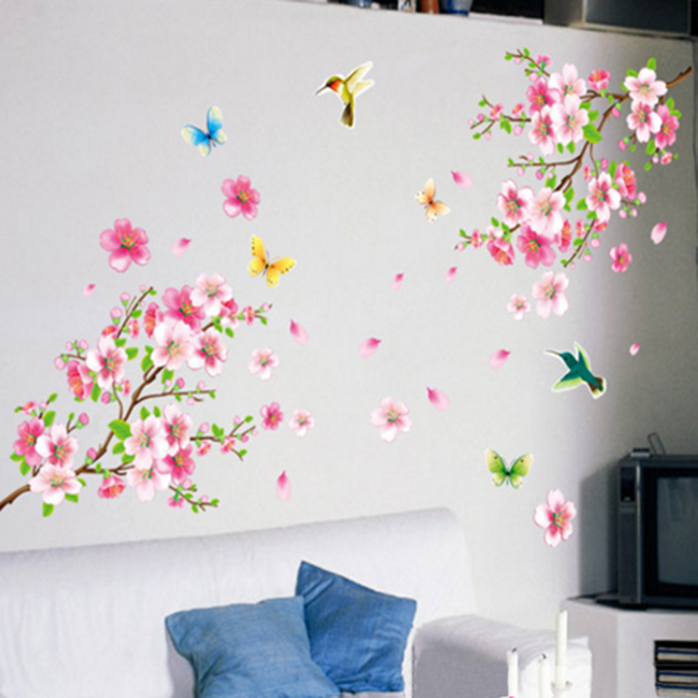 Beautiful Flower Wall Stickers Graceful Peach Blossom Birds Wall Stickers Furnishing Kids Living Room Decal Poster Mural