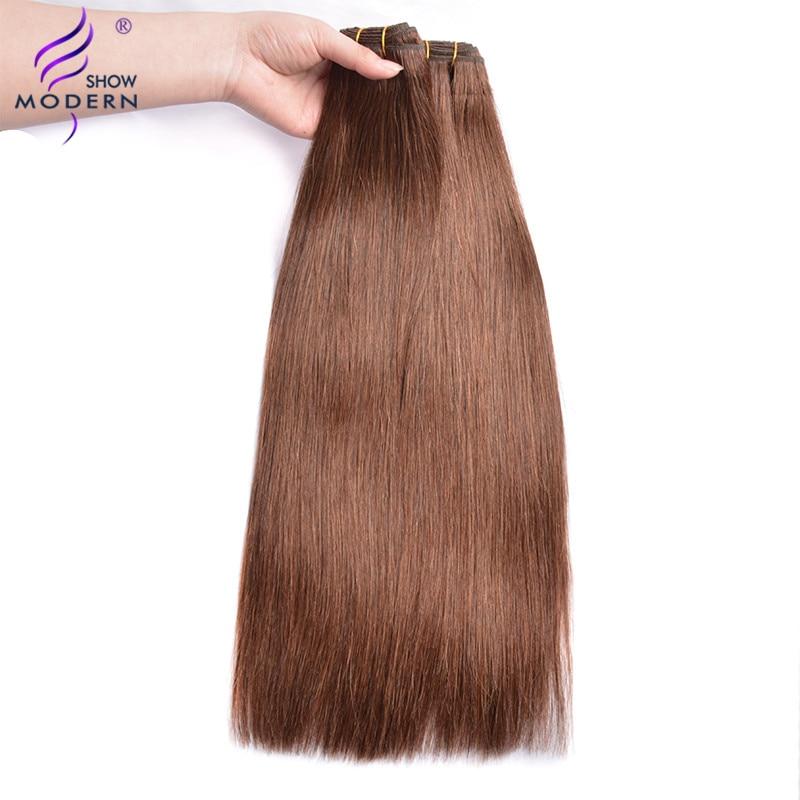 Echthaarverlängerungen Moderne Show Haar Malaysia Gerade Haarwebart Bundles #4 Farbe Remy Menschenhaar Spinnt Bundles Doppel Schuss 100g Haar Verlängerung Haarverlängerungen