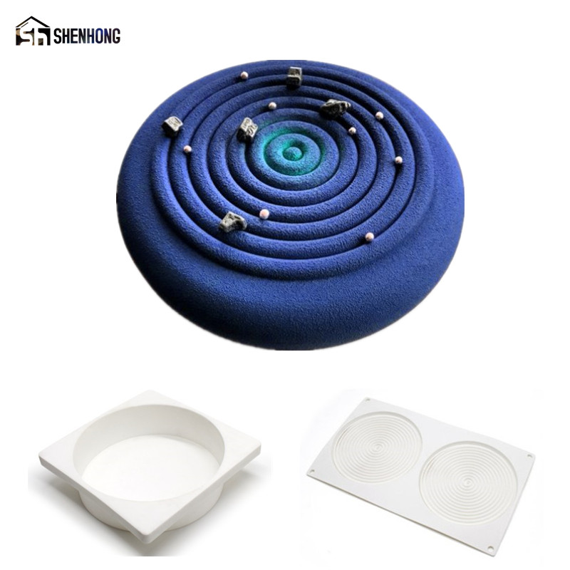 SHENHONG 2PCS / SET Tourbillon 3D Art Cake Moule Pop Silikone Dekoration Mould Mousse Silikonowe Formy Bagning Pastry Mold