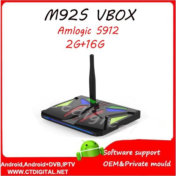 1 unids M92S VBOX S912 2G + 16G Android6.0 Amlogic caja de la tv smart tv box me
