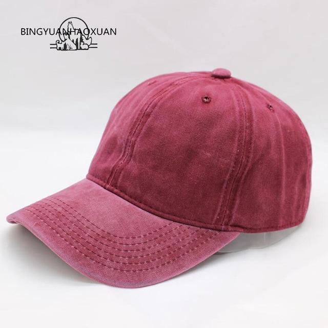 BINGYUANHAOXUAN alta calidad lavado algodón ajustable color sólido gorra de béisbol  Unisex pareja gorra moda Casual 854bb3551de
