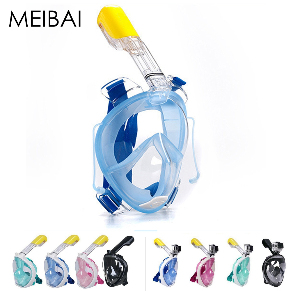 MEIBAI CN/USA Warehouse Anti Fog Snorkeling Set Camera Diving <font><b>Masks</b></font> <font><b>Full</b></font> Face Scuba Diving <font><b>Mask</b></font> Gopro Snorkel Underwater Scuba