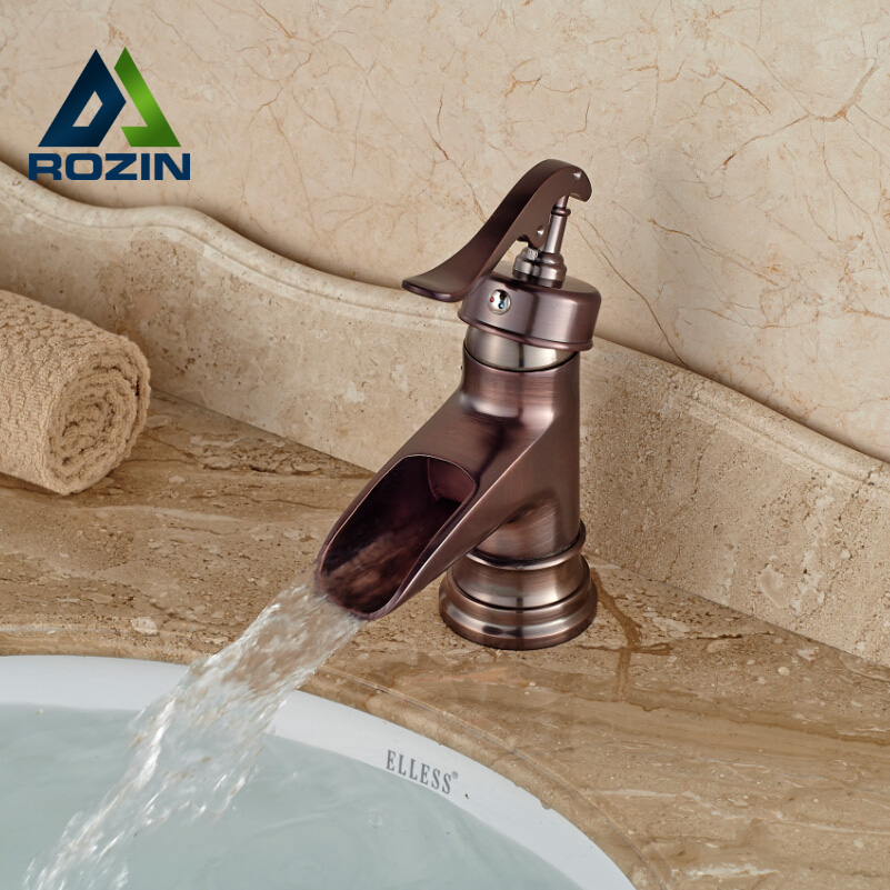 ФОТО Free Shipping Waterfall One Hole Mixer Faucet Deck Mount Bathroom Vessel Sink Faucet Single Lever
