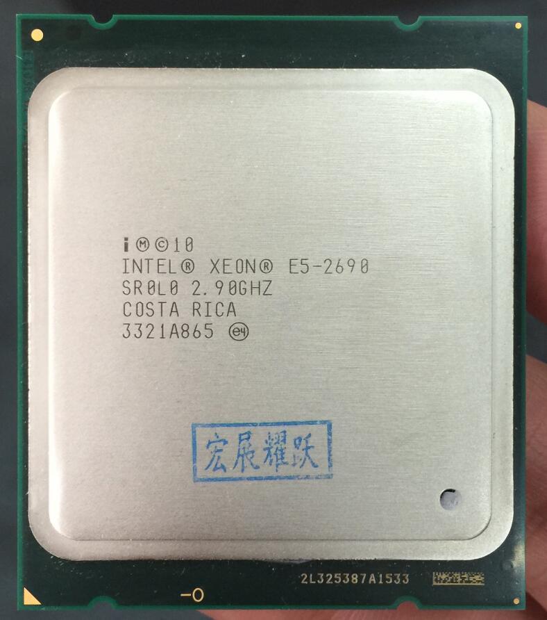 Processeur Intel Xeon E5-2690 E5 2690 huit cœurs 2.9G SROL0 C2 LGA2011 CPU 100% fonctionnant correctement processeur d'ordinateur de bureau serveur PC