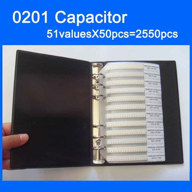 Бесплатная доставка 0201 smd конденсатор книга образца 51valuesX50pcs = 2550 шт. 0.5PF ~ 220NF конденсатор Ассортимент Комплект обновления