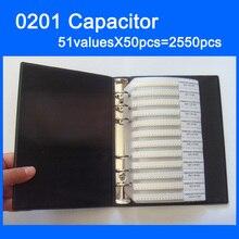 Freies Verschiffen 0201 SMD Kondensator Probe Buch 51valuesX50 stücke = 2550 stücke 0.5PF ~ 220NF Kondensator Sortiment Kit Pack