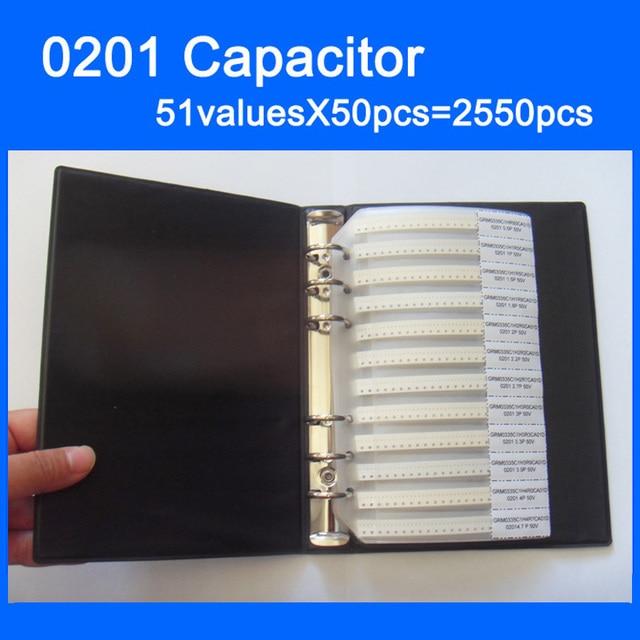 Ücretsiz Kargo 0201 SMD Kapasitör Örnek Kitap 51valuesX50pcs = 2550 adet 0.5PF ~ 220NF Kapasitör Çeşitler Kiti Paketi