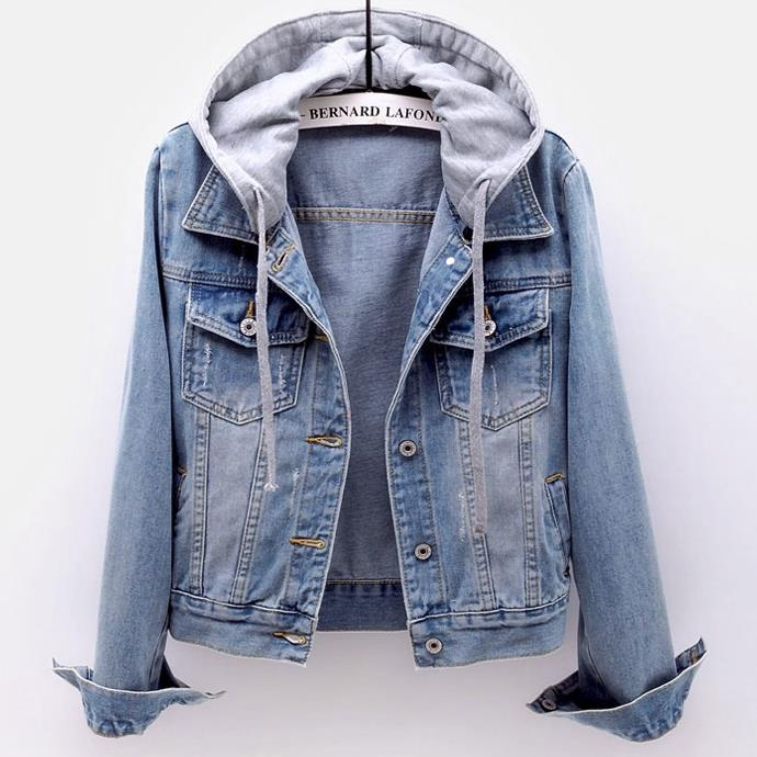 New Arrival autumn Women Hooded turn down collar Coat short slim Denim jackat plus size 4XL