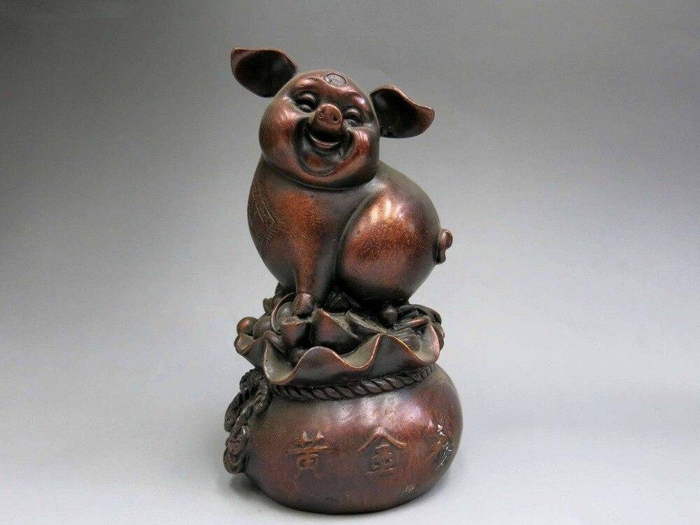 Chinois cuivre animal Yuan Bao richesse cochon porc argent sac Statue en BronzeChinois cuivre animal Yuan Bao richesse cochon porc argent sac Statue en Bronze