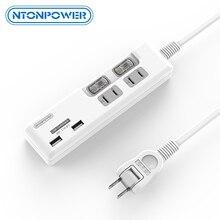 NTONPOWER regleta de enchufe de Japón con cargador USB, 2 puertos de carga inteligente, 2 salidas de CA, interruptor Individual, cable de extensión de 1,5 M