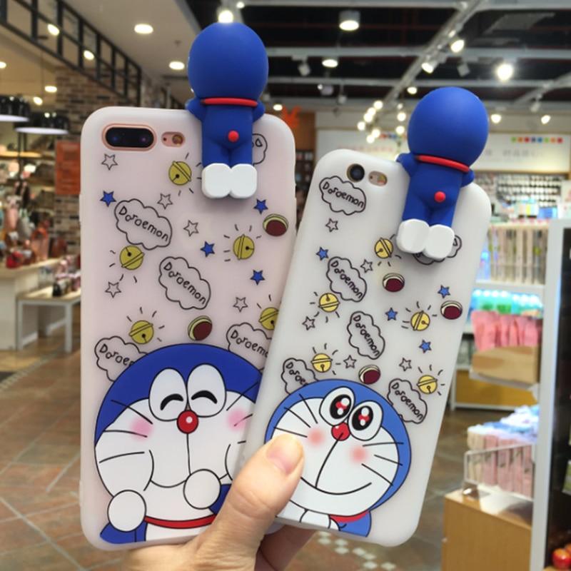 Cartoon Doraemon Robot Cat Pattern Soft Tpu Cover for Iphone 5 5s 6 Plus 6s Plus 7 Plus 8 Plus X Clear White Protective Shell