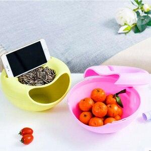 Image 5 - كسول البلاستيك طبقة مزدوجة حاويات الفاكهة الجافة وجبات خفيفة صندوق تخزين حامل القمامة سطح المكتب لوحة طبق المنظم