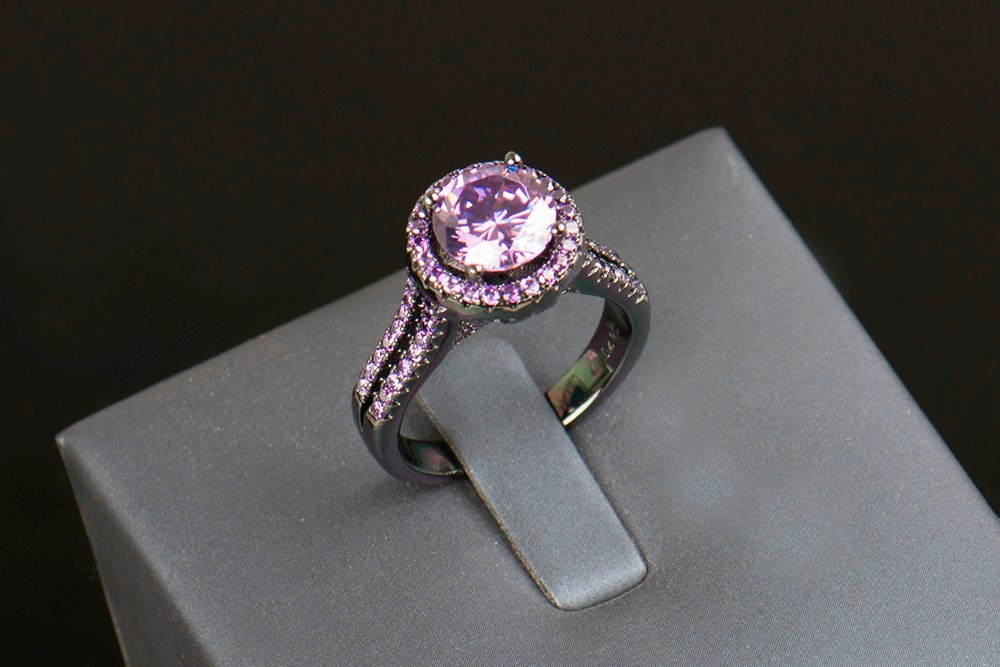 R&J 2016 Women Fashion Purple Crystal Ring 5A Zircon Jewelry 10KT - Fashion Jewelry - Photo 4