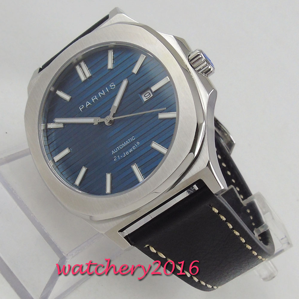 NEW Arrive 44mm PARNIS Blue Dial Date Indicator Steel Case Luminous Sapphire Luxury Brand Miyota Automatic