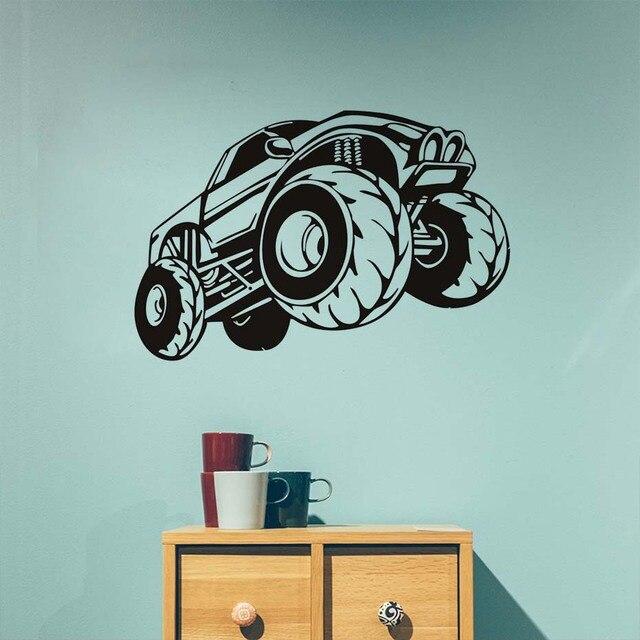 Monster Truck Vinyl Wall Sticker For Kids Room Adesivo De Parede Auto  Wallpaper Living Room Bedroom