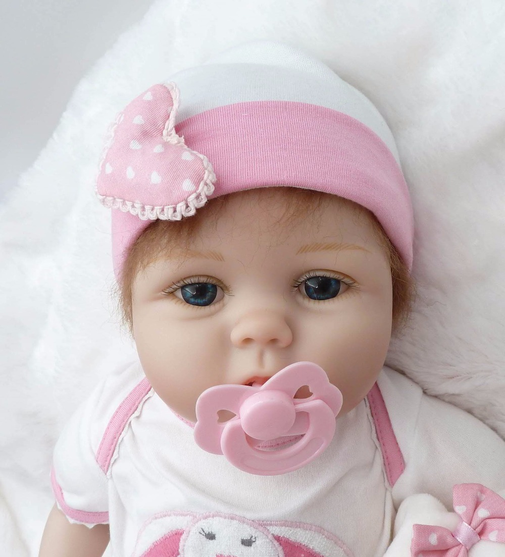 22in super cute twins of the baby girl bebe bonecas wearing pink bunny set best children gifts silicone reborn baby dolls