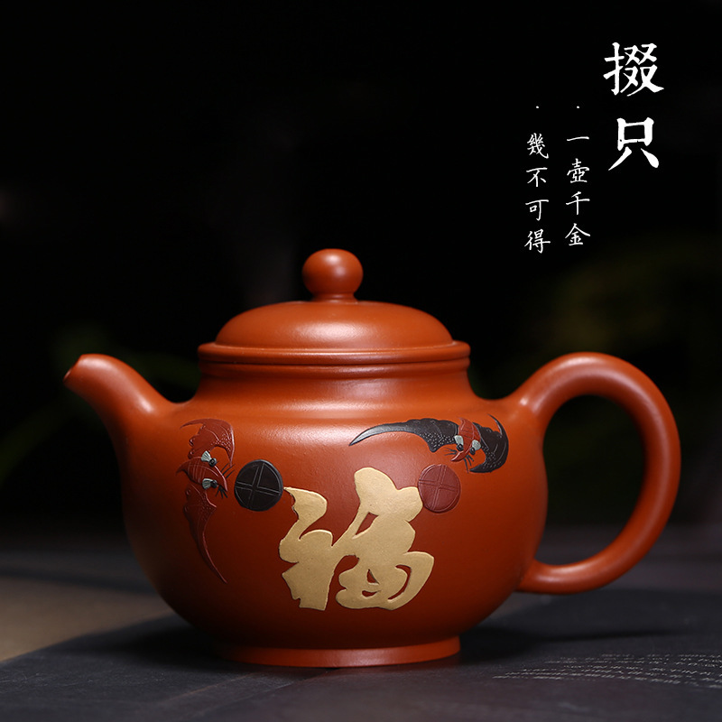 Tea zhu Duo mud mud painting are recommended only wholesale handmade purple red single pot color mud painting gift potTea zhu Duo mud mud painting are recommended only wholesale handmade purple red single pot color mud painting gift pot