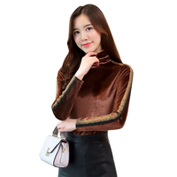 Fashion Women Shirts Upset Add Wool Full Sleeve Slim Side Color Matching Bright Silk Pleuche Show