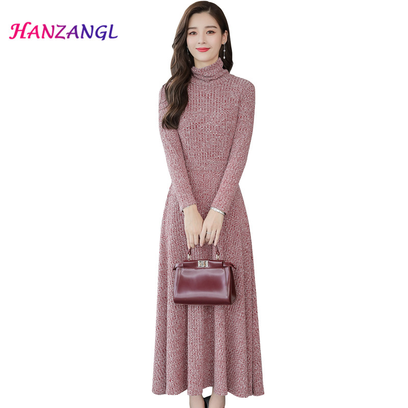 knitting Cotton Dress Autumn Women 2018 New temperament elegant Loose Large Size Long Sleeve Turtleneck Sweater Dresses S~3XL