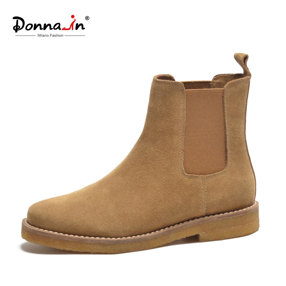 44f77d9b5 Donna-em Chelsea Ankle Boots Mulheres Botas Genuíno Couro De Vaca Camurça  Saltos Baixos Dedo Do Pé Redondo Clássico Designer Senhoras Sapato 2019  Outono