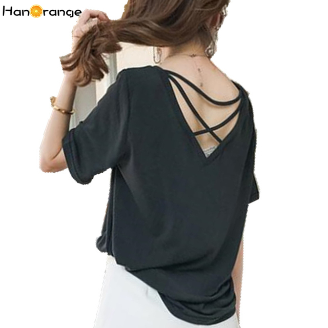 f36a164370c HanOrange Modal 2017 Summer Short Sleeve Ladies Solid Color Women Cross  Halter T-shirt Tops