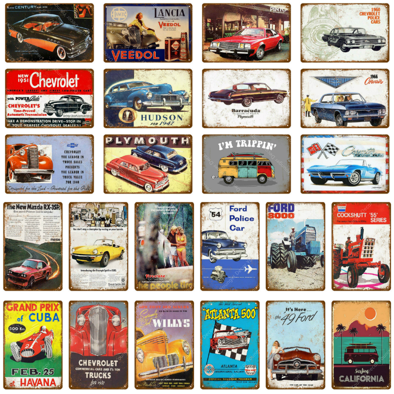 Metal Tin Sign corvette sport car  Pub Home Vintage Retro Poster Cafe ART