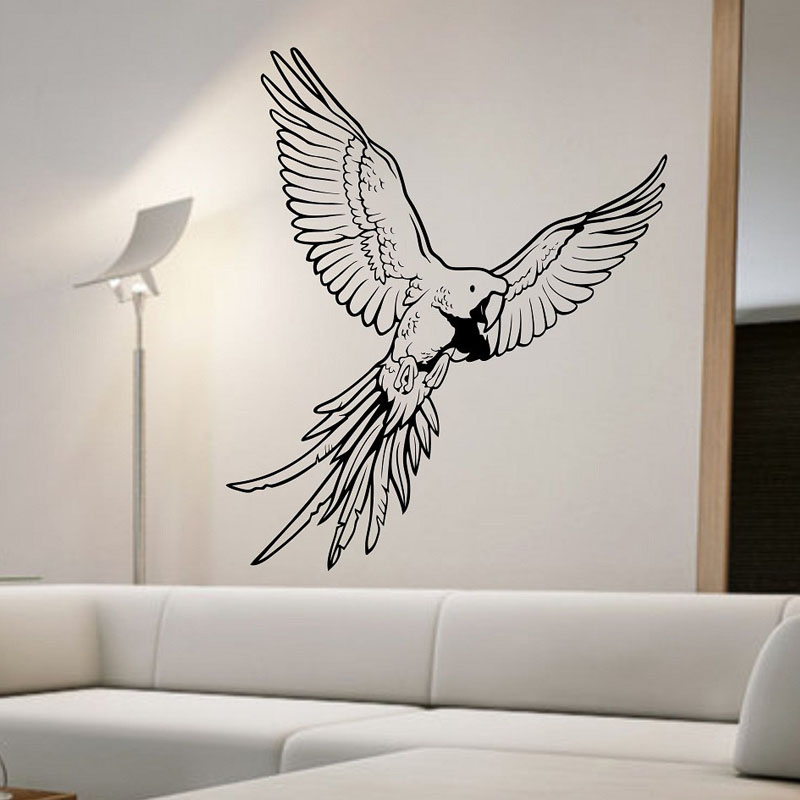 Creative Home Decoration Parrot Wall Stickers Living Room Vinyl Adhesive Wall Decals Animals Decor China