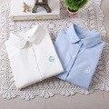 2016 Otoño Y El Invierno de La Manera Ocasional de Las Mujeres Camisa de Manga Larga Pequeño Cisne Bordado Oxford Tops Señoras Del Resorte Camisa Azul Blanco