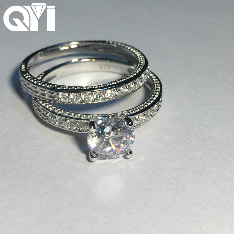 Qyi Trendy Ring Set 1 Ct 925 Solide Silber Simulierte Diamant Luxus Engagement Hochzeit Ringe Frauen Geschenk Mode Schmuck Schnelle WäRmeableitung Schmuck & Zubehör