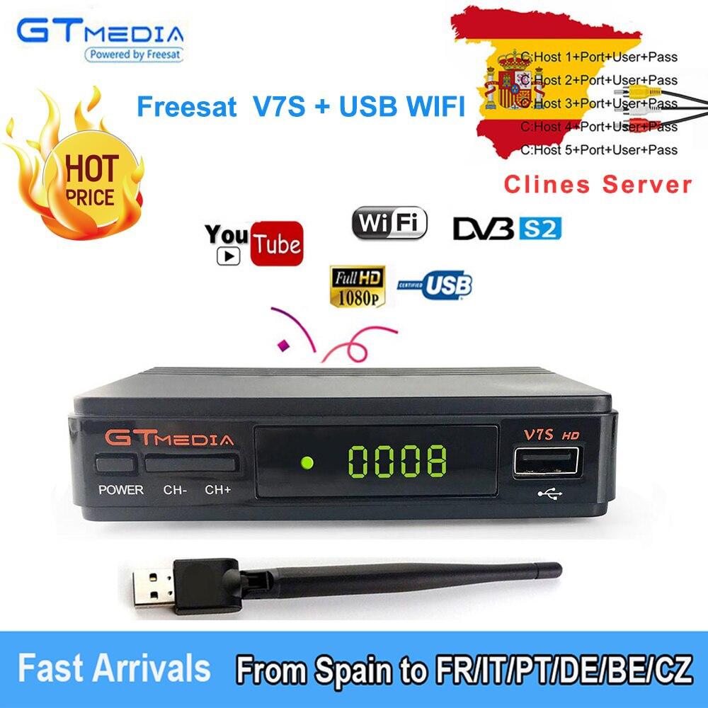 Freesat V7S HD DVB-S/S2 Satellite Receiver Full HD1080P+USB WIFI support YouTube, Biss key,ccam cline 1 year PK FREESAT V7 HD