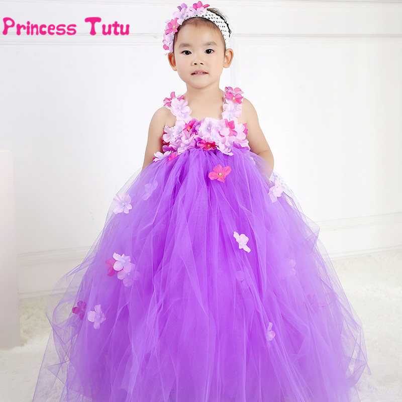 Cute Flower Fairy Princess Dress Tulle Wedding Tutu Dress Baby Kids Birthday Party Prom Bridesmaid Flower Girl Dresses Costumes handmade tulle flower girl dress princess flower tutu dresses children kid baby pageant bridesmaid wedding party formal dresses