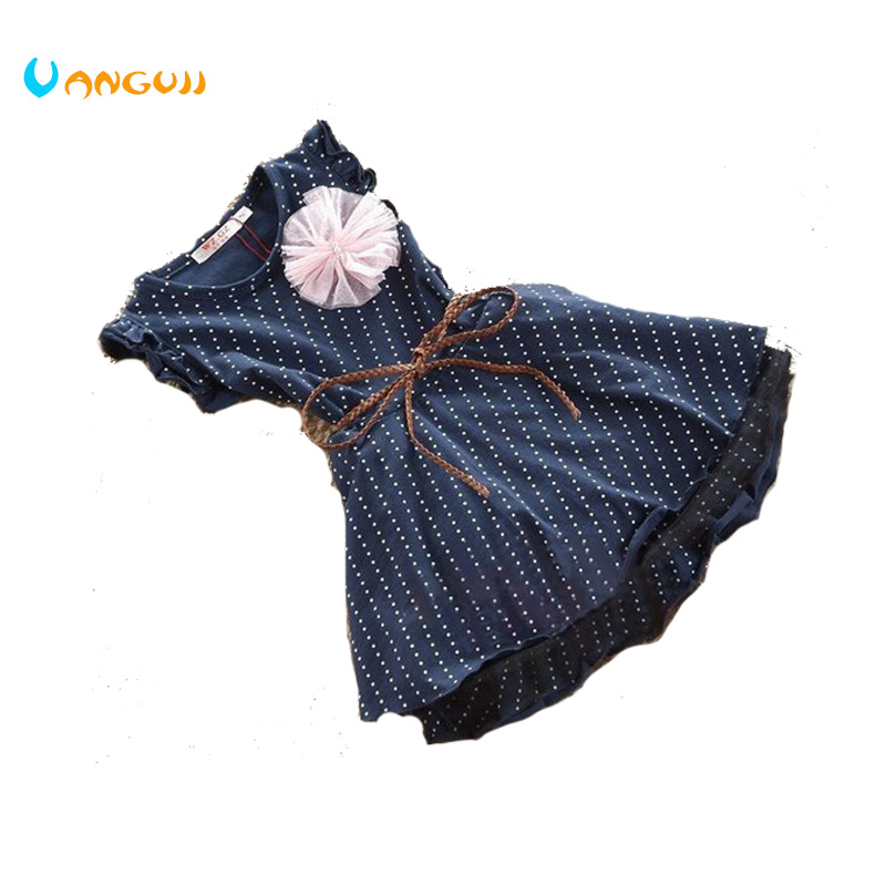 Cheap Girls Dresses 2017 Top Quality Dark Blue Short Sleeve Dots Stripe Flower Kids Girl Dress with Belt vik max adult kids dark blue leather figure skate shoes with aluminium alloy frame and stainless steel ice blade