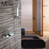 Chrome finished bathtub faucet wall mounted glass square faucets waterfall mixer tap for bathroom