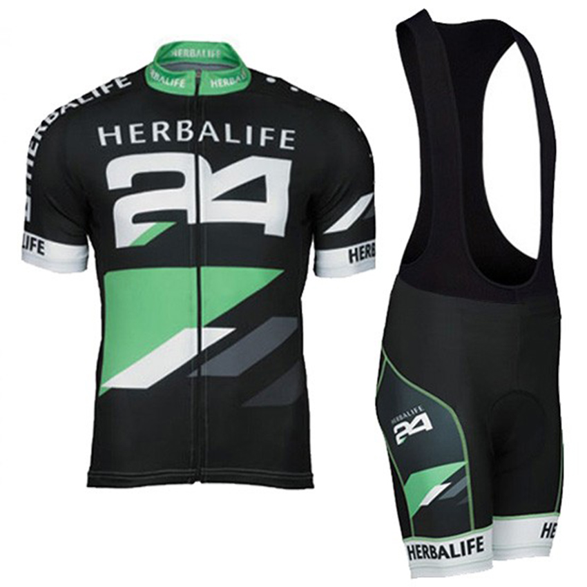 HOT!Classic Black HERBALIFE Cycling Jersey Short Sleeve Summer Maillot Ciclismo Men High Quality Bib Shorts MTB Bike Clothes Set aaa 2016 hot sale 2017 reals madrides best quality short sleeve kids kit soccer jersey 16 17 white purple 3rd black shirt