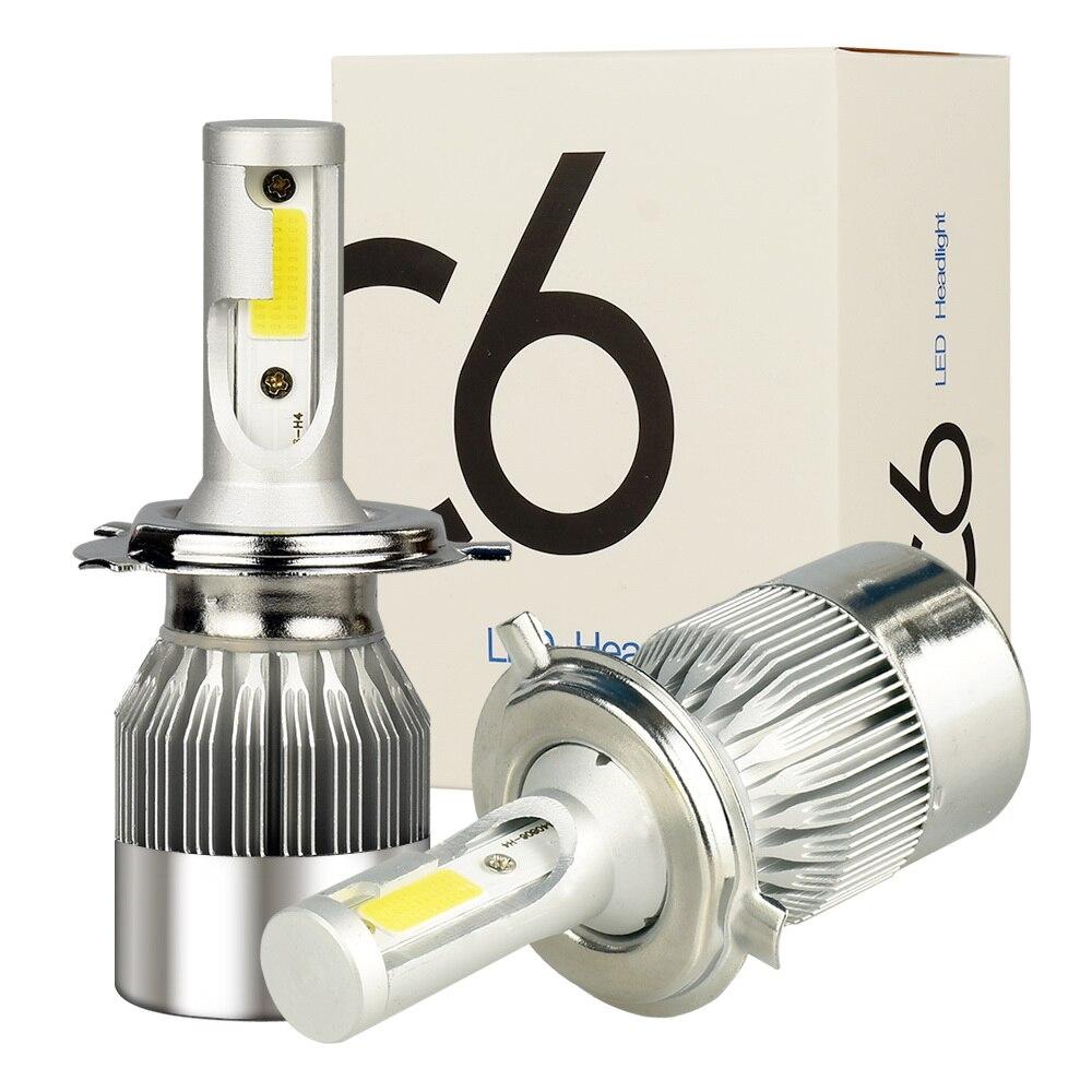 SATTVAM 2 pcs H4 LED H7 H11 H1 9004 9005 9006 9007 HB1 HB2 HB3 HB4 HB5 H3 H13 880 phare de voiture Ampoules 72 w 7600LM 6000 k Auto lampe