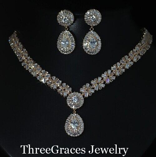 Европейский Стиль Свадебные Ювелирные Изделия Позолоченные Цирконий Кристалл Большой Ожерелье И Серьги Наборы Для Женщин JS030