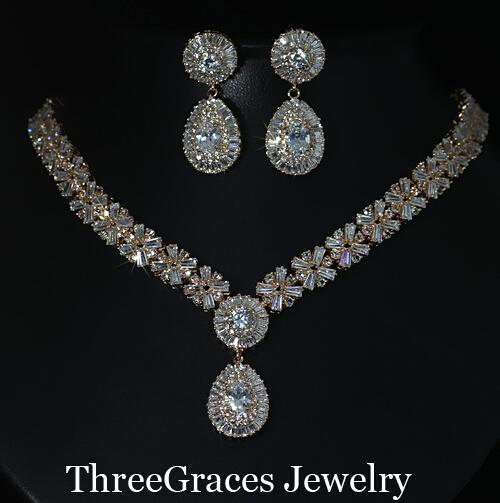 Estilo europeu Banhado A Ouro Zirconia Cúbico de Cristal Nupcial da Jóia Do Casamento Grande Colar E Brincos Conjuntos Para As Mulheres JS030