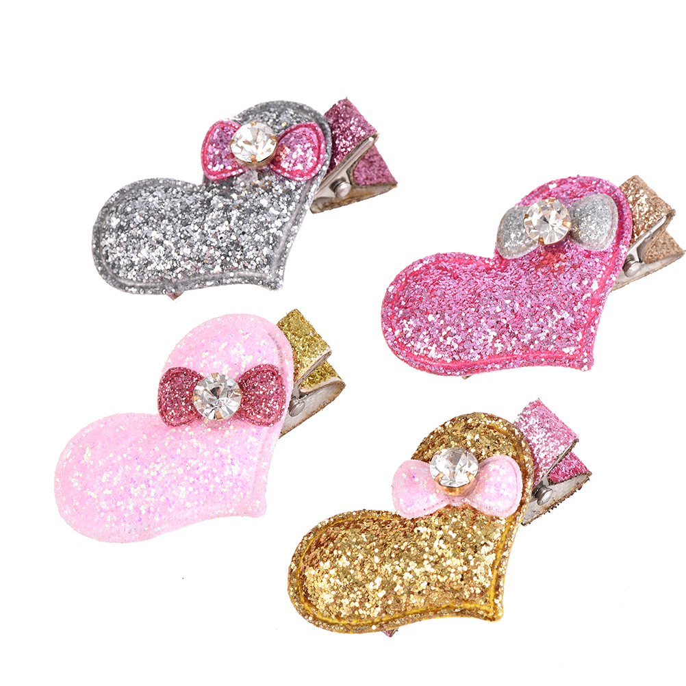 M MISM 2 pcs Girls Shiny Heart Shape Hairpins With Rhinestone Bowknot Hair Accessories For Children Hair Clips Headwear Hairpins