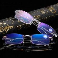Ultralight Rimless Reading Glasses Women Men Clear Lens Anti-Blu-Ray Computer Presbyopia Eyewear Diopter