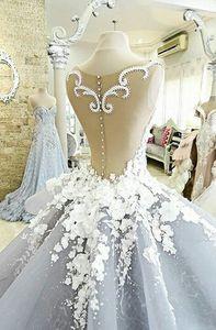 Image 3 - Dreamy Blume Prinzessin Hochzeit Kleider Luxus Bunte Brautkleider Robe De Mariage Sehen Obwohl Perlen Braut Kleid W201715
