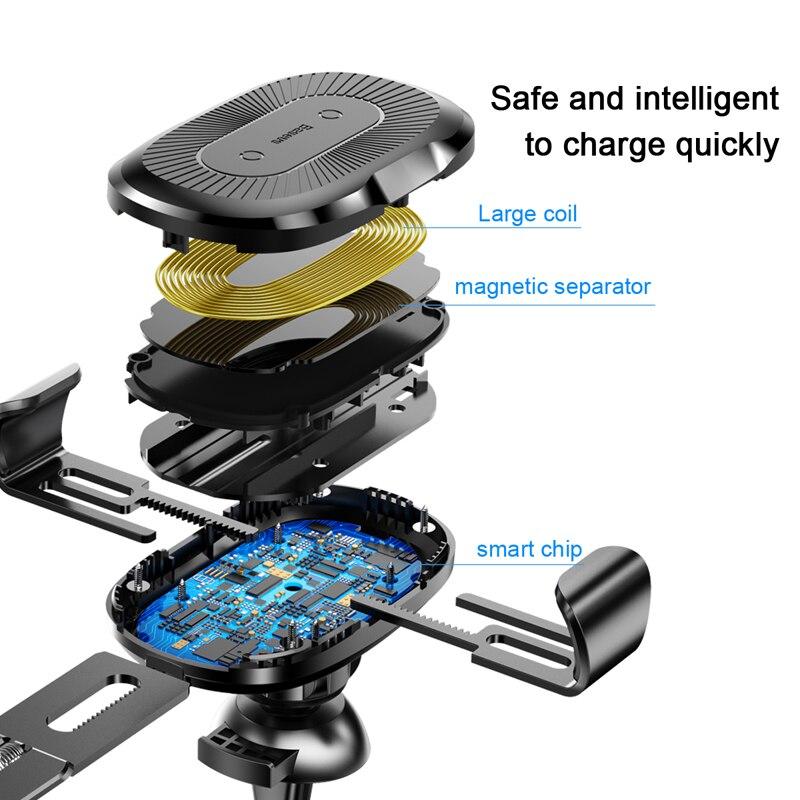 Image 5 - Baseus Qi Support de chargeur voiture  Pour téléphone pour iPhone Samsung Charge rapide, Support monté, sortie dair, Support à gravité 10WSupport universel pour voiture   -