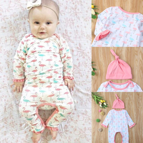 2 шт. для новорожденных одежда для малышей Дети Рождество Фламинго хлопковое боди Кепки Шляпа Одежда 0-24 м