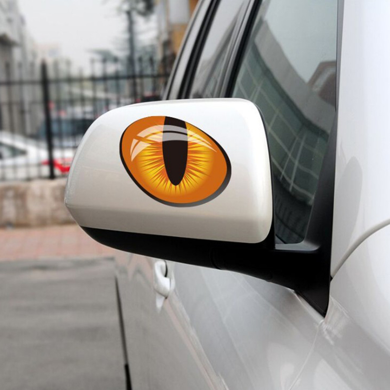 Hot Cute Cat Eyes Car Stickers 3D Vinyl Decal Car Head Engine Cover Rearview Mirror Windows Decoration
