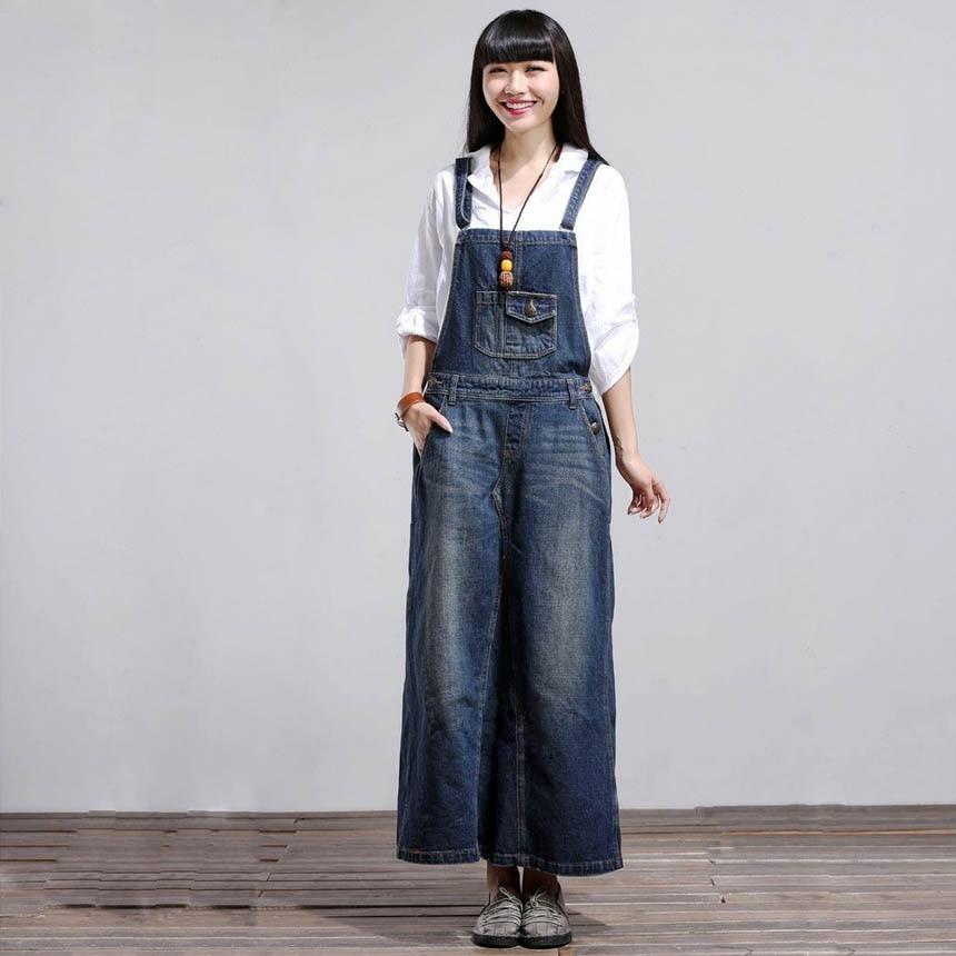 Spring Fashion Solid Pocket Long Strap Denim Dress Women ...