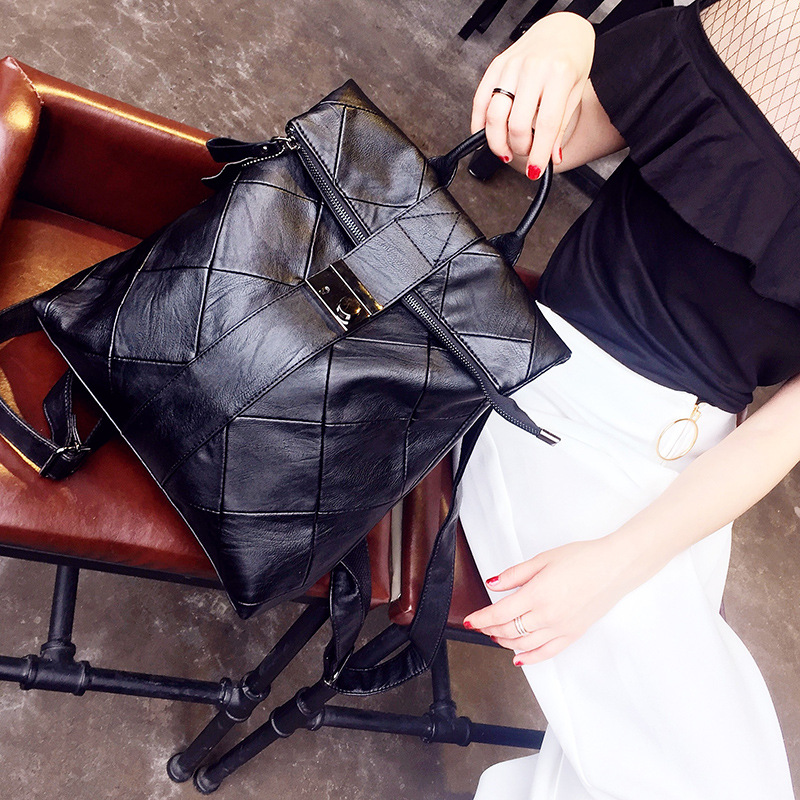 Softback sacs d'école en cuir véritable pour les adolescentes voyage petit sac à dos sac Pack poignée souple noir