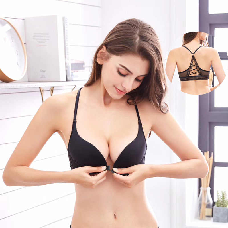 ff4478590f Fashion bra spring and summer seamless sexy front button bra push up underwear  buckle female small